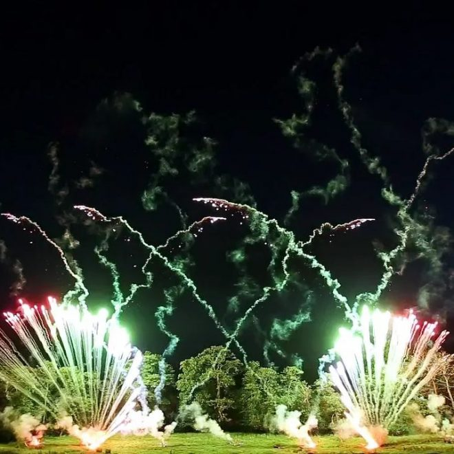 High-End Pyromusical Fireworks at Ripley Castle, 2016