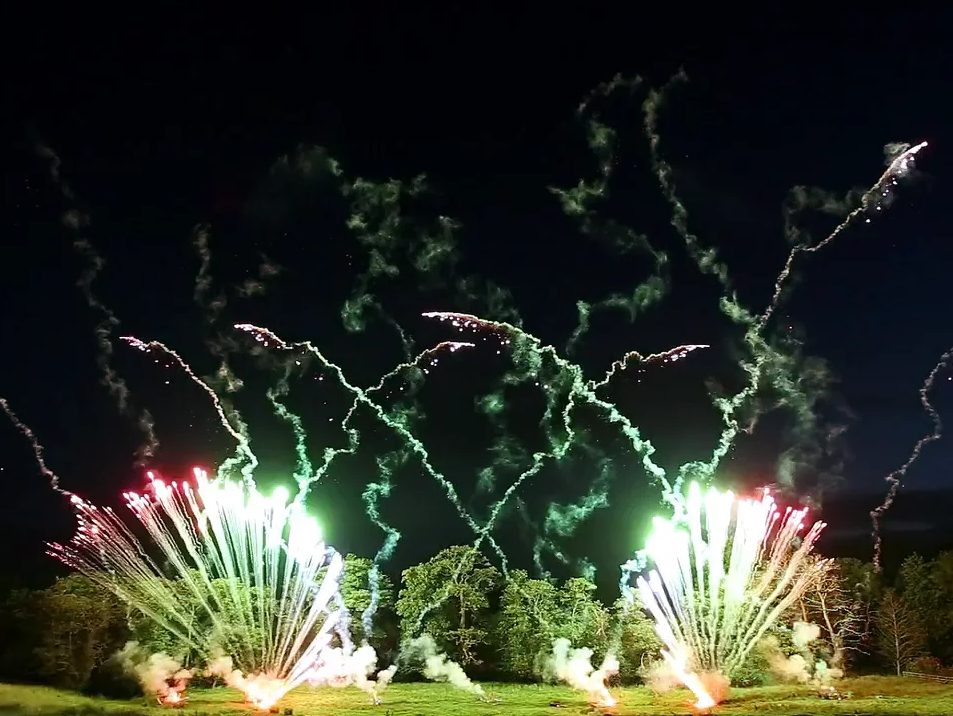 High-End Pyromusical Fireworks at Ripley Castle, 2016